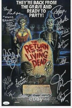 RETURN OF THE LIVING DEAD Cast (x12) Authentic Hand-Signed 11x17 Photo (JSA COA)