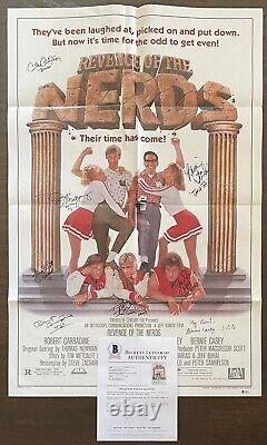 REVENGE OF THE NERDS 8 Cast Members Signed POSTER Original One Sheet BECKETT COA
