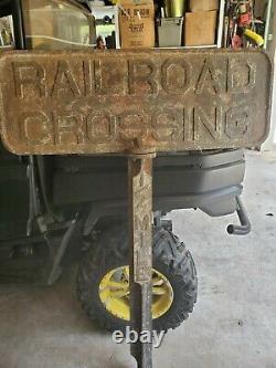 Rare Original Antique Cast Iron Railroad Crossing Sign