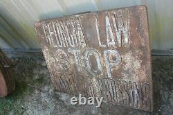 Rare Original Antique Cast Iron Railroad Crossing Sign Georgia Law Stop Unsafe