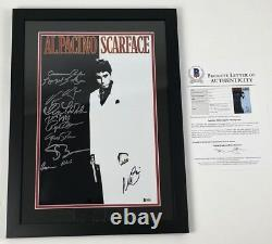 SCARFACE CAST X10 signed 11x17 Movie Poster Framed Al Pacino Loggia BAS Beckett