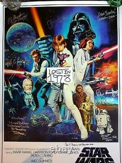 STAR WARS Cast SIGNED Autograph Poster Carrie Fisher Dave Prowse Mayhew Bulloch