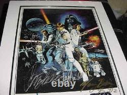 STAR WARS signed auto MOVIE poster by 8 FRAMED MARK HAMILLHARRISON FORDG. LUCAS
