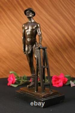 Signed Original Hot Cast Construction Worker Gay Theme Bronze Sculpture Statue