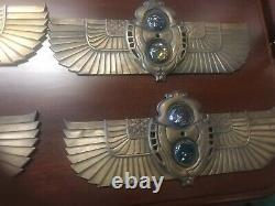 Signed Pair of Tiffany Cast Bronze Egyptian Revival Elevator indicators #6451