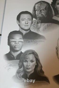 Star Trek Next Generation Cast Autographed 20x24 Art Print JSA Authenticated