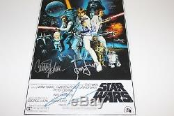 Star Wars Episode IV A New Hope Cast Signed Movie Poster Coa X5 Carrie Fisher+