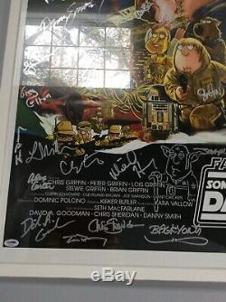 Star Wars Family Guy Cast Signed 27x40 Poster Incl Carrie Fisher PSA Coa Rare