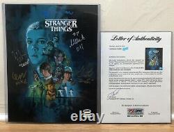 Stranger Things Cast Signed Auto 11x14 poster Wolfhard Millie PSA authenticated