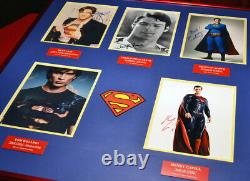 Superman Signed AUTOGRAPHS Christoper Reeve, Cavill, Welling, Cain, Routh + CAPE