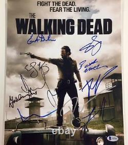 THE WALKING DEAD x10 Cast Signed 11x14 Photo Beckett BAS COA Lincoln & Reedus