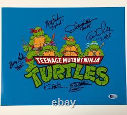 Teenage Mutant Ninja Turtles TMNT Cast (5) Signed 11x14 Photo + Sketch BAS COA