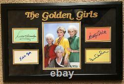 The Golden Girls Signed Autographed Complete Cast 3x5 Card Set Custom Framed