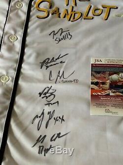 The Sandlot Cast Movie Autographed/Signed Jersey JSA COA Baseball