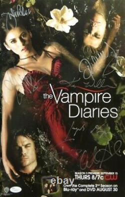 The Vampire Diaries Cast Signed Autographed 11x17 Poster Wesley Dobrev Plec JSA