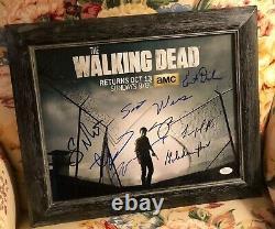 The Walking Dead Cast Signed x9 Framed Photo with JSA COA Reedus, Gurira, Wilson+