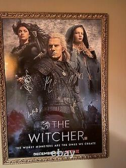 The Witcher Cast Signed Poster Henry Cavill 27x40 WithCOA RARE