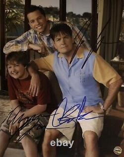 Two and a Half Men Cast Of 3 Original Autographs Hand Signed 8x10 withHolo COA