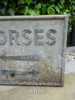 VINTAGE CAST METAL'HORSE' RIDING DIRECTION SIGN Not ENAMEL ROAD SIGN