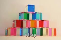 Vasa Mihich Original 1984 Cast Acrylic Cube Sculptures / Set of 10