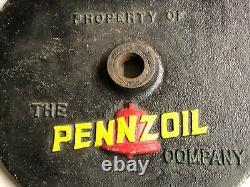 VinTagE Original 20 PENNZOIL Bell Cast Iron Lollipop Curb SIGN Base gas Oil OLD