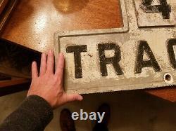 Vintage Antique RR Railroad Cast Iron 4 Tracks Sign 27.5 x 17 x 3/4 33lbs