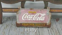 Vintage Coca Cola Park Bench Cast Iron Plaque & Legs COKE Soda FOUNTAIN SERVICE