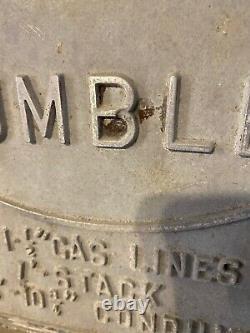 Vintage Humble Oil Texas Gasoline Gas Pipeline Cast Metal Sign Marker