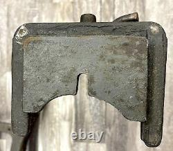 Vintage Signed Cast Iron Steel Industrial Table Legs Base Heavy Duty 23 1/2 H