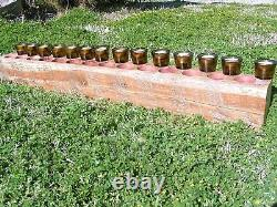 Wooden FOURTEEN Hole Sugar Mold style Tree trunk Candle Holder COMPLETE Set