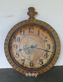 19ème C Fonte Et Zinc Horloge Signe D'échange, Orig. Surface Peinte