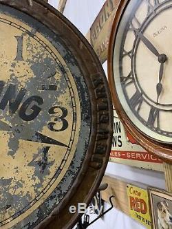 19ème Siècle Vintage Montre Bracelet Bijoux Réparation Commerce Signe Fonte Métal