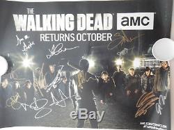 2016 Sdcc The Walking Dead Cast Dédicacé Signé 11x17 Exclusive Poster