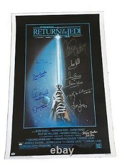 27x40 Cast Signé Wars Jedi Ro Autographiés Étoile Affiche Du Film Adn Psa