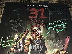 31 Rare Cast Signé Par 10 Inédit Film Poster Rob Zombie Sheri Richard Brake