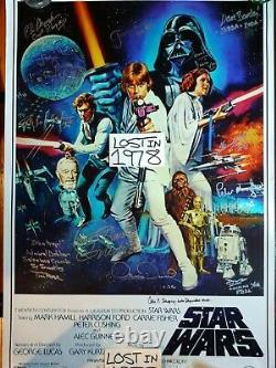 Affiche Autographe Signée De Star Wars Carrie Fisher Dave Prowse Mayhew Bulloch