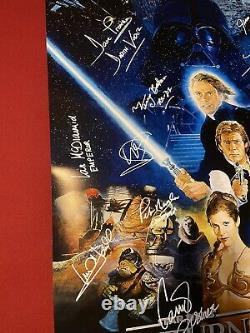 Affiche De Cinéma Cast Signed Star Wars Retour De L'affiche Jedi! Mark Hamill ++