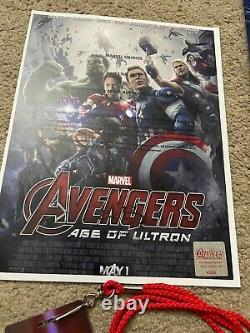 Affiche De Cinéma De Avengers Age Of Ultron Affiche De Première Signée Cast Avec Badge & Coa