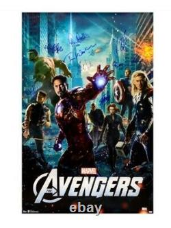 Affiche De Cinéma Signée Par Marvel Avengers Stan Lee Chris Hemsworth Evans