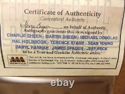 Affiche Du Film Wall Street Casting Complet Autographié Coa Sheen Douglas Hannah Encadré