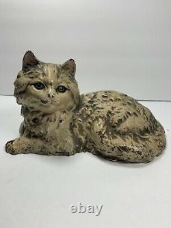 Antique Hubley #335 Cast Iron Fireside Kitten Cat Doorstop Peinture Originale Signée