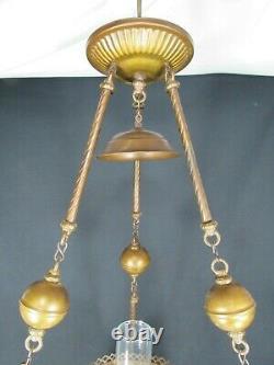 Antique Hurricane Oil Lamp Grand Plafond Suspendu Main Peinte En Fonte Signée