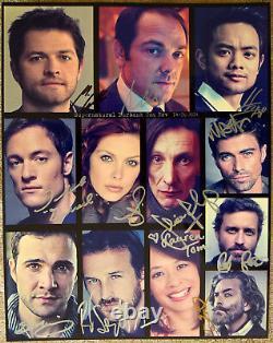 Authentic Supernatural Cast Signé Photo À Burbank Convention 14x11