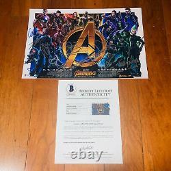 Avengers Infinity War Signé 12x18 Affiche De Film Par 18 Cast Chris Evans Avec Coa