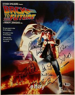Back To The Future Cast (6) Signé 11x14 Photo Thompson + Wells Beckett Bas Coa