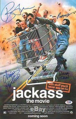 Bam Margera Chris Pontius 2 Cast Signé 11x17 Jackass Affiche Du Film Psa / Adn Coa