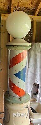 Barber Pole Antique Vintage Debout En Fonte 7ft Lighted Spinning Koken