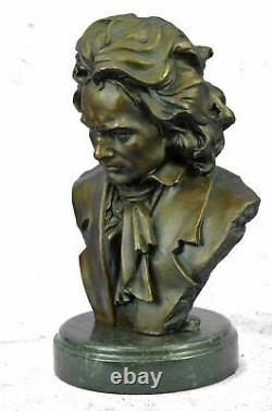 Beethoven 100% Pure Bronze Cast Stone Milo Original Signé Buste Sculpture 12'