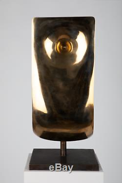 Belle Original Fine Art Abstrait Cast Sculpture En Bronze Avec Finition Poli