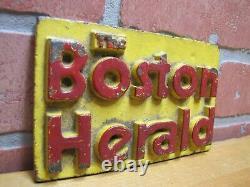 Boston Herald Vieux Papier Journal Stand Fonte Fer Publicité Paperweight Panneau Poids